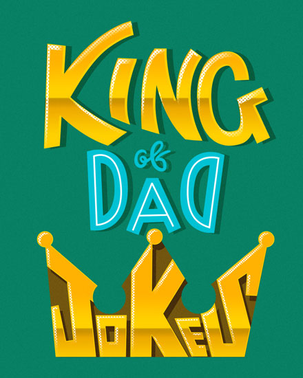 fathers day card king of dad jokes