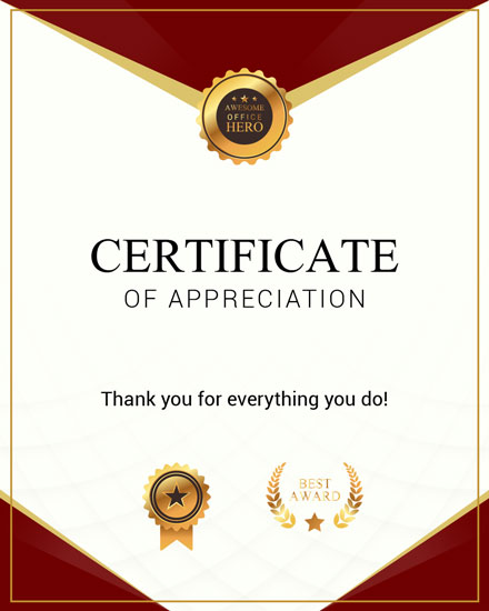 admin day card maroon gold certificate of appreciation