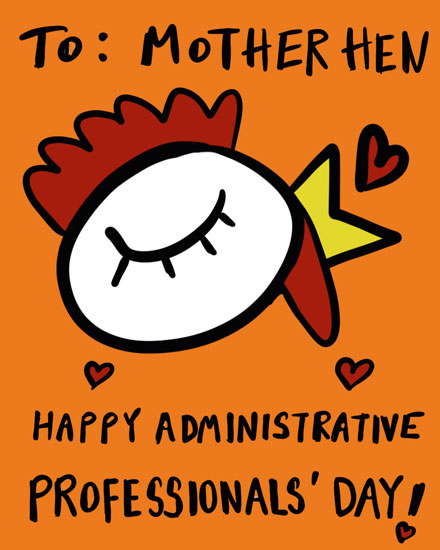 admin day card to mother hen