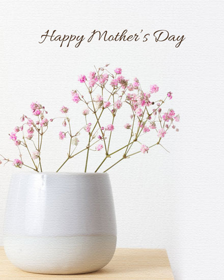 mothers day card gypsophila in vase