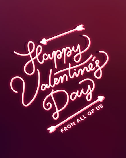 happy valentines day card neon sign