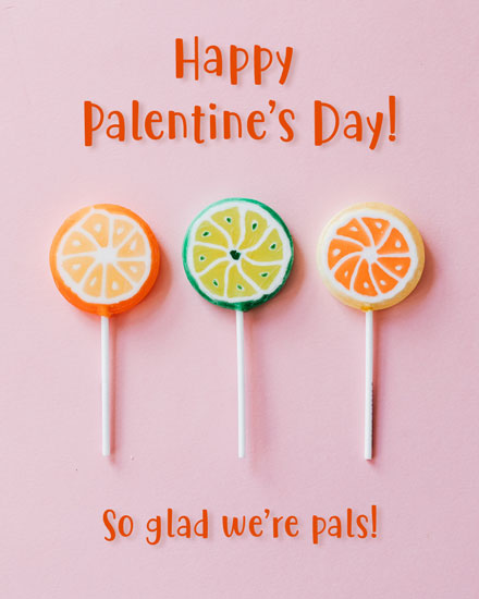 happy palentines day card lollipops