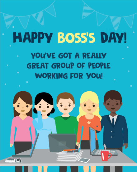 boss day card great group of people working for you