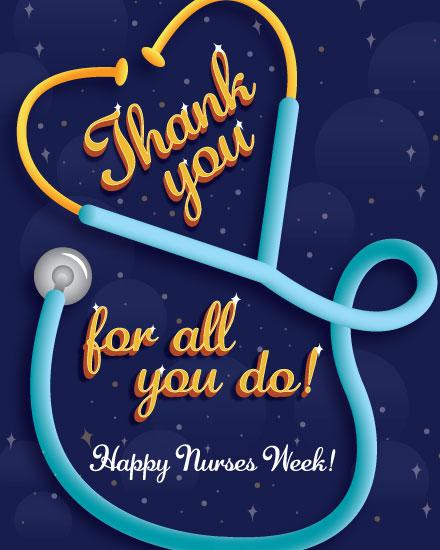 nurse week card stethoscope heart