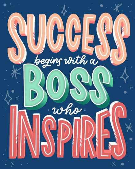 boss day card success begins with boss who inspires