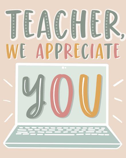 teacher appreciation card laptop