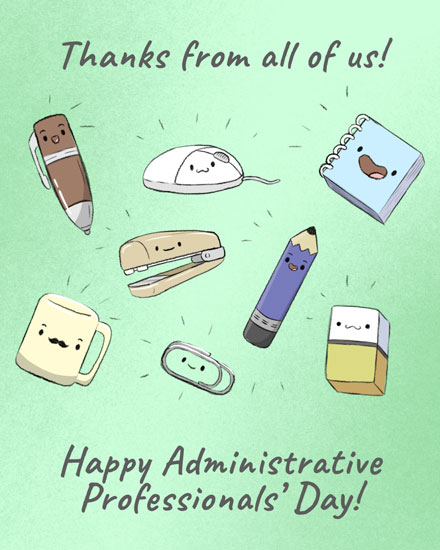 admin day card thanks from all of us