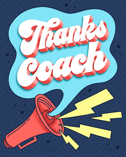 thank you card coach megaphone