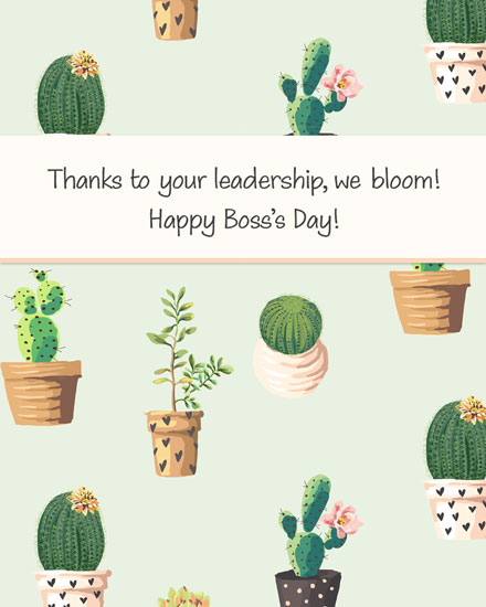 boss day card thanks to your leadership we bloom