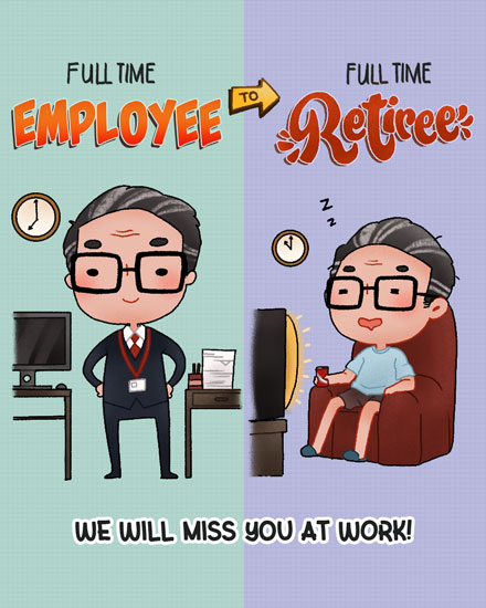 retirement card full time employee full time retiree