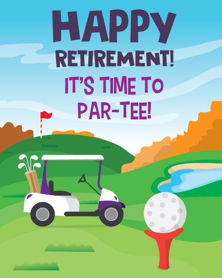 retirement card golf retirement par tee