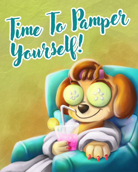 retirement card time to pamper yourself pup