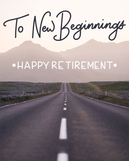 retirement card to new beginnings road to mountains