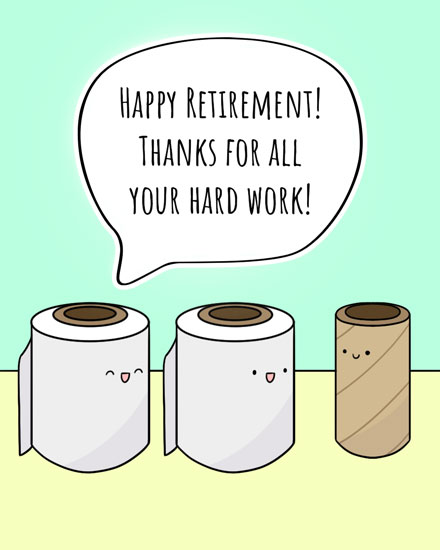 retirement card toilet paper rolls