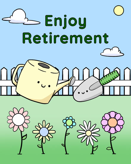 retirement card water can trowel flowers