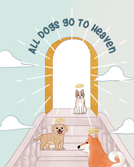 sympathy card all dogs go to heaven dogs on stairway to heaven