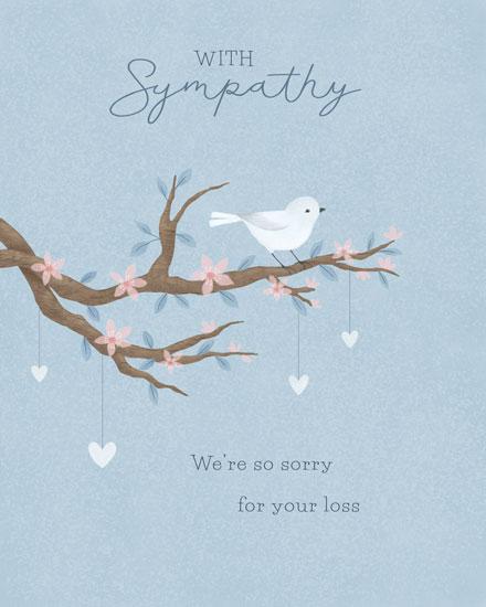 sympathy card bird on branch