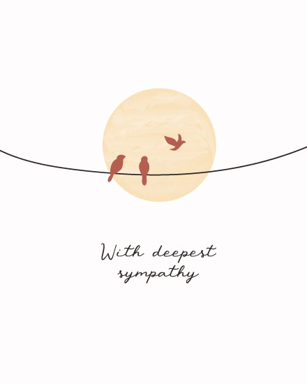 sympathy card birds on wire