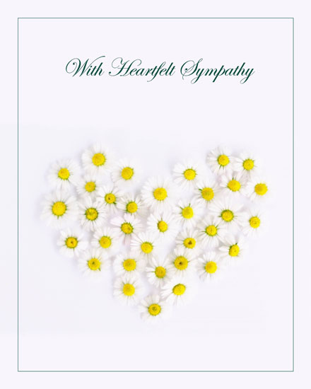 sympathy card daisy heart