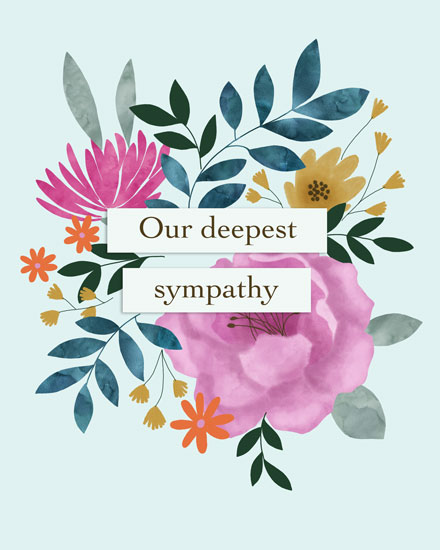 sympathy card our deepest sympathy floral mix