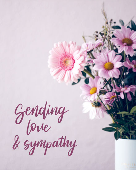 sympathy card flowers in vases photo