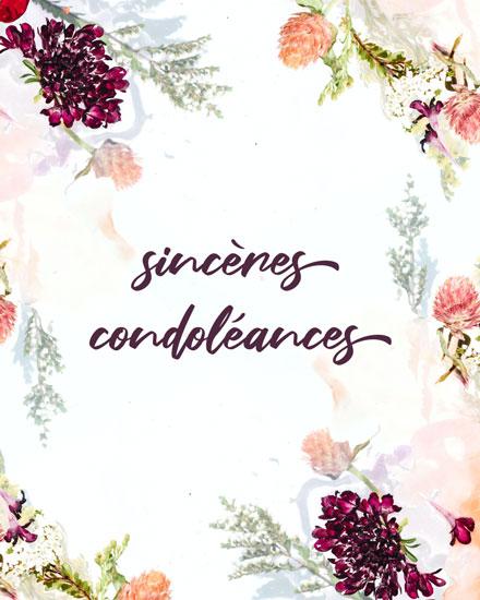 sympathy card sinceres condoleances french