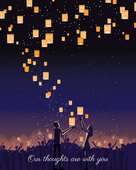 sympathy card lanterns in night sky