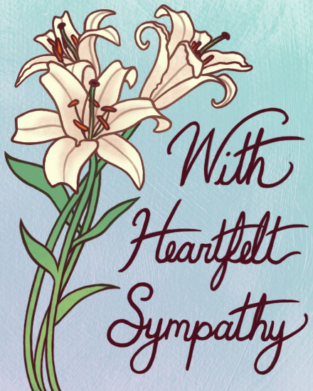 sympathy card lilies flowers