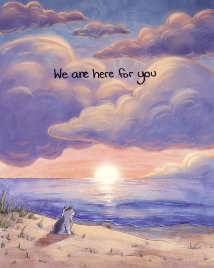 sympathy card we are here for you dog on the beach