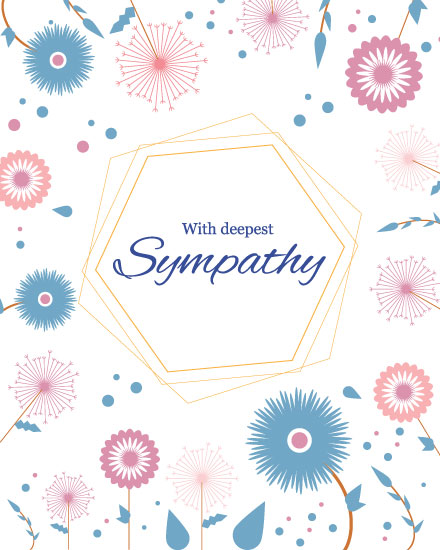sympathy card pink blue flowers