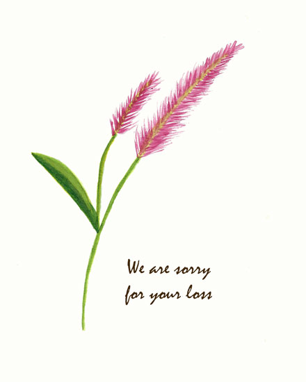 sympathy card pink reed watercolor