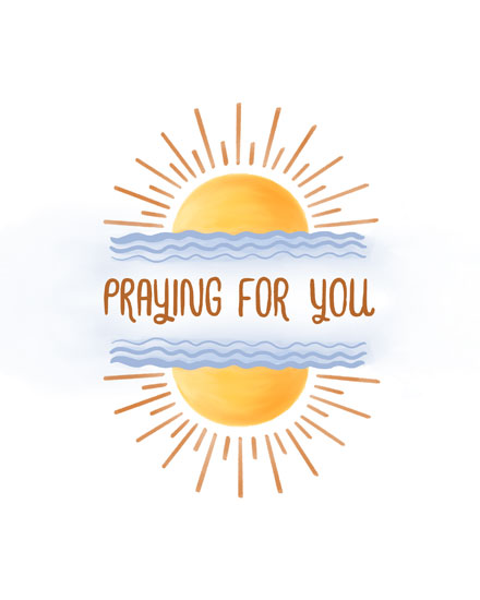 sympathy card praying for you sun with rays