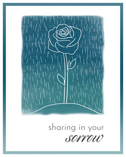 sympathy card rose under raindrops