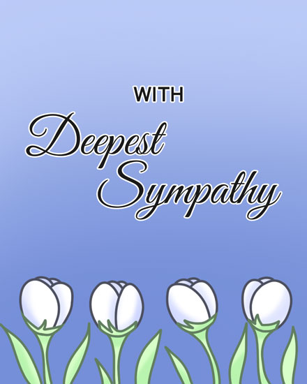 sympathy card row of white tulips