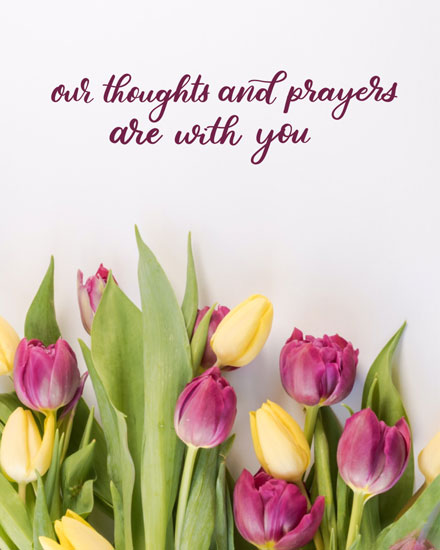 sympathy card with thoughts prayers and tulips