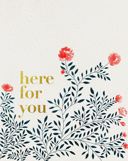 sympathy card here for you watercolor flowers