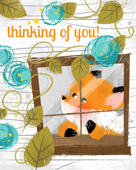 sympathy card window fox