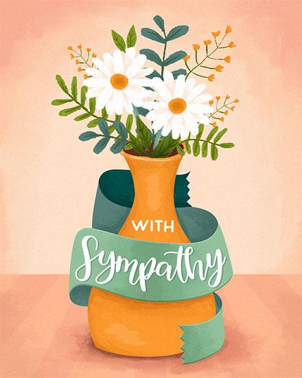 sympathy card with sympathy flowers in vase