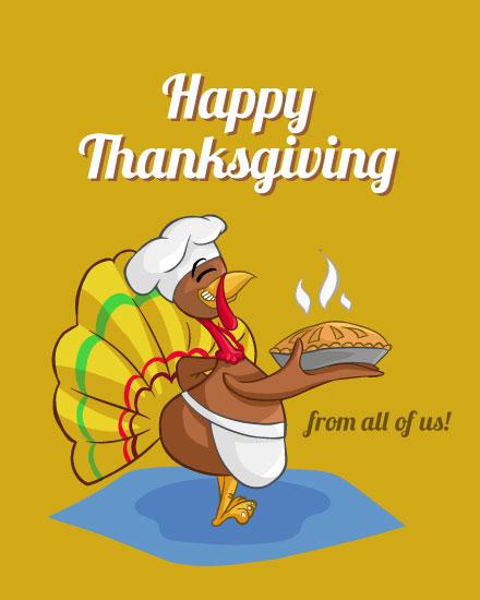 thanksgiving card happy thanksgiving turkey baking pie