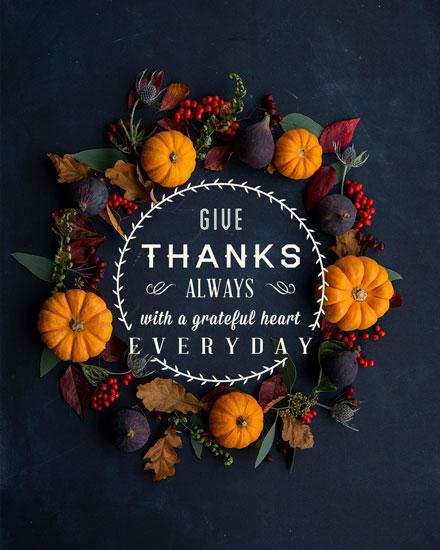 thanksgiving card give thanks always pumpkin wreath