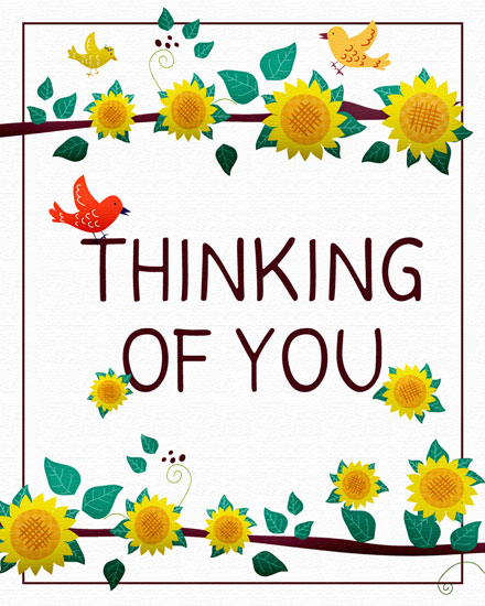 thinking of you card birds and sunflowers