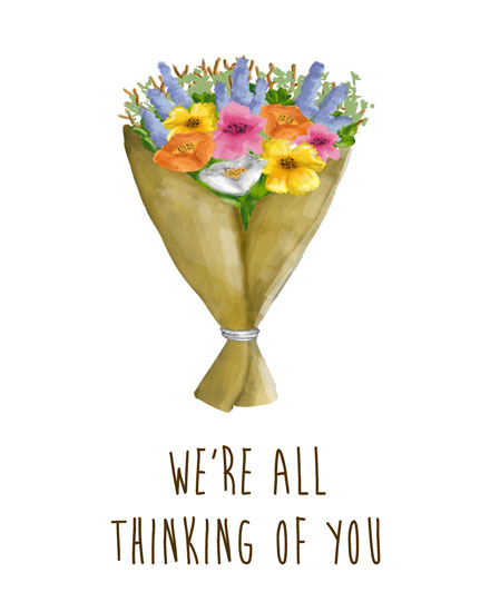 thinking of you card flower bouquet