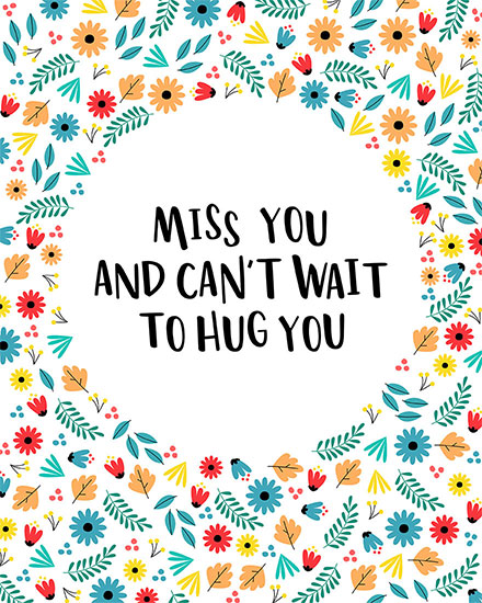 thinking of you card miss you cant wait to hug you