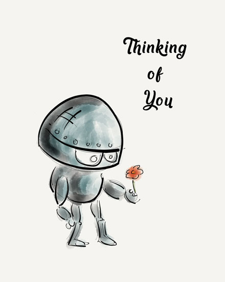 thinking of you card robot with flower