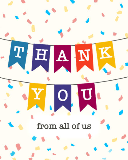 thank you card bunting confetti