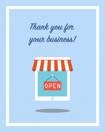 thank you card business store front