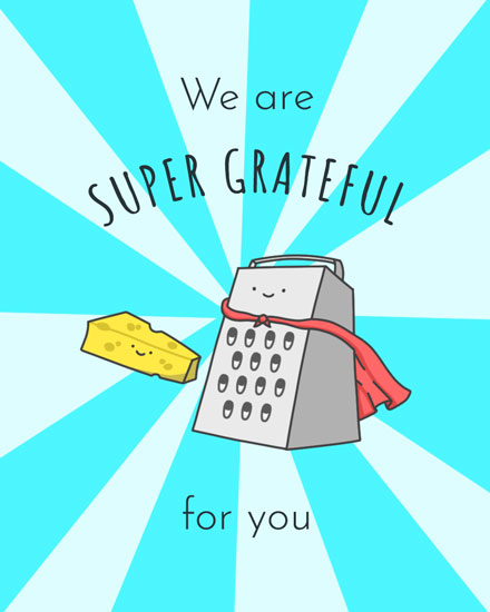 thank you card cheese grater
