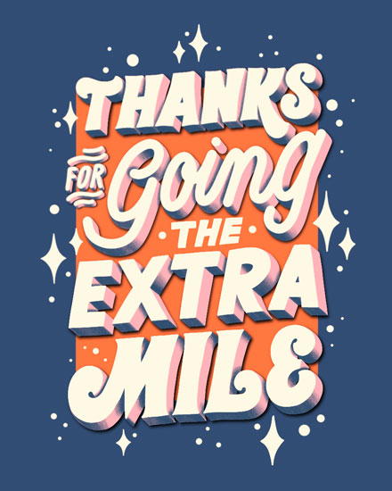 thank you card thanks for going the extra mile