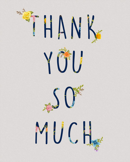 thank you card floral birthday