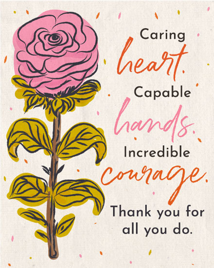 thank you card flower heart hands courage